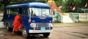 Burma Bus with monk