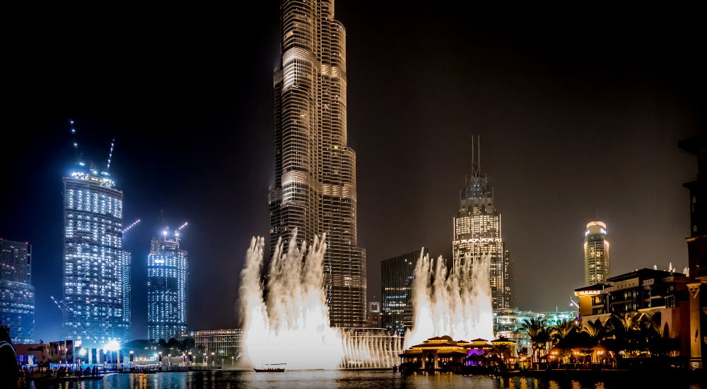Burj Khalifa, fountains, Dubai Mall, United Arab Emirates