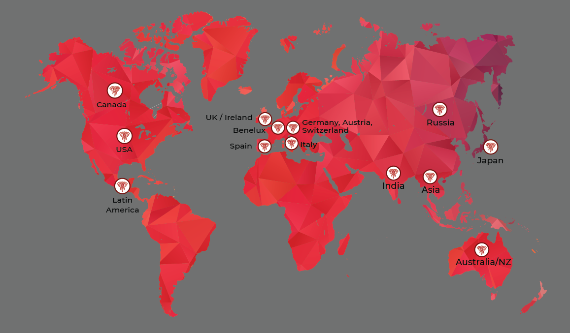 Map of global sales staff